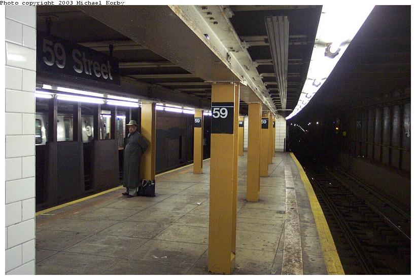 (81k, 820x553)<br><b>Country:</b> United States<br><b>City:</b> New York<br><b>System:</b> New York City Transit<br><b>Line:</b> BMT 4th Avenue<br><b>Location:</b> 59th Street <br><b>Photo by:</b> Michael Korby<br><b>Date:</b> 11/4/2002<br><b>Viewed (this week/total):</b> 2 / 5088