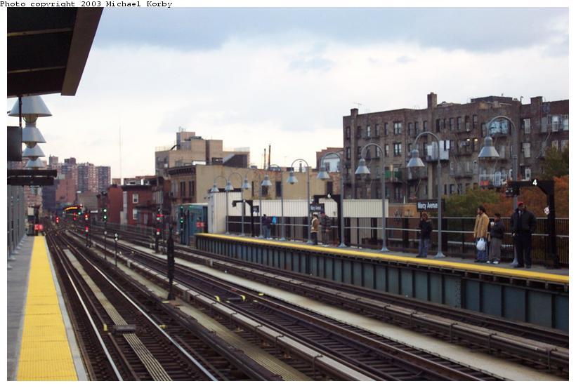 (78k, 820x553)<br><b>Country:</b> United States<br><b>City:</b> New York<br><b>System:</b> New York City Transit<br><b>Line:</b> BMT Nassau Street/Jamaica Line<br><b>Location:</b> Marcy Avenue <br><b>Photo by:</b> Michael Korby<br><b>Date:</b> 11/4/2002<br><b>Viewed (this week/total):</b> 0 / 2682