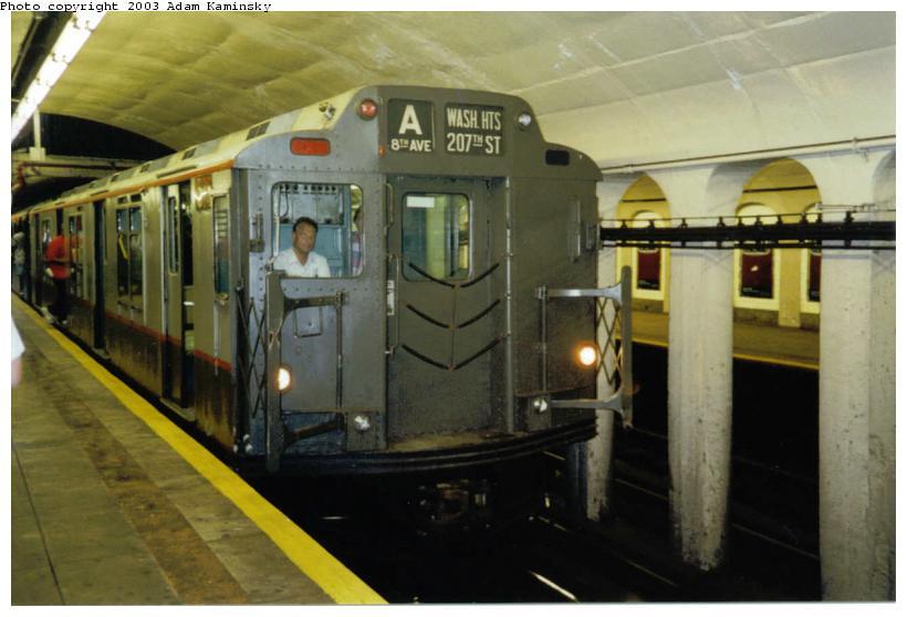 (60k, 820x558)<br><b>Country:</b> United States<br><b>City:</b> New York<br><b>System:</b> New York City Transit<br><b>Line:</b> IND 8th Avenue Line<br><b>Location:</b> 190th Street/Overlook Terrace <br><b>Route:</b> Fan Trip<br><b>Car:</b> R-7A (Pullman, 1938)  1575 <br><b>Photo by:</b> Adam Kaminsky<br><b>Date:</b> 8/24/2003<br><b>Viewed (this week/total):</b> 0 / 4974