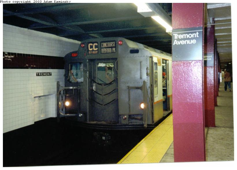 (59k, 820x589)<br><b>Country:</b> United States<br><b>City:</b> New York<br><b>System:</b> New York City Transit<br><b>Line:</b> IND Concourse Line<br><b>Location:</b> Tremont Avenue <br><b>Route:</b> Fan Trip<br><b>Car:</b> R-7A (Pullman, 1938)  1575 <br><b>Photo by:</b> Adam Kaminsky<br><b>Date:</b> 8/24/2003<br><b>Viewed (this week/total):</b> 0 / 5016