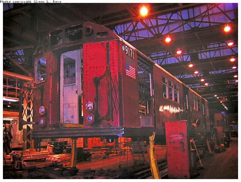 (140k, 820x620)<br><b>Country:</b> United States<br><b>City:</b> New York<br><b>System:</b> New York City Transit<br><b>Location:</b> 207th Street Shop<br><b>Car:</b> R-33 Main Line (St. Louis, 1962-63) 9171 <br><b>Photo by:</b> Glenn L. Rowe<br><b>Date:</b> 6/13/2003<br><b>Viewed (this week/total):</b> 1 / 3639