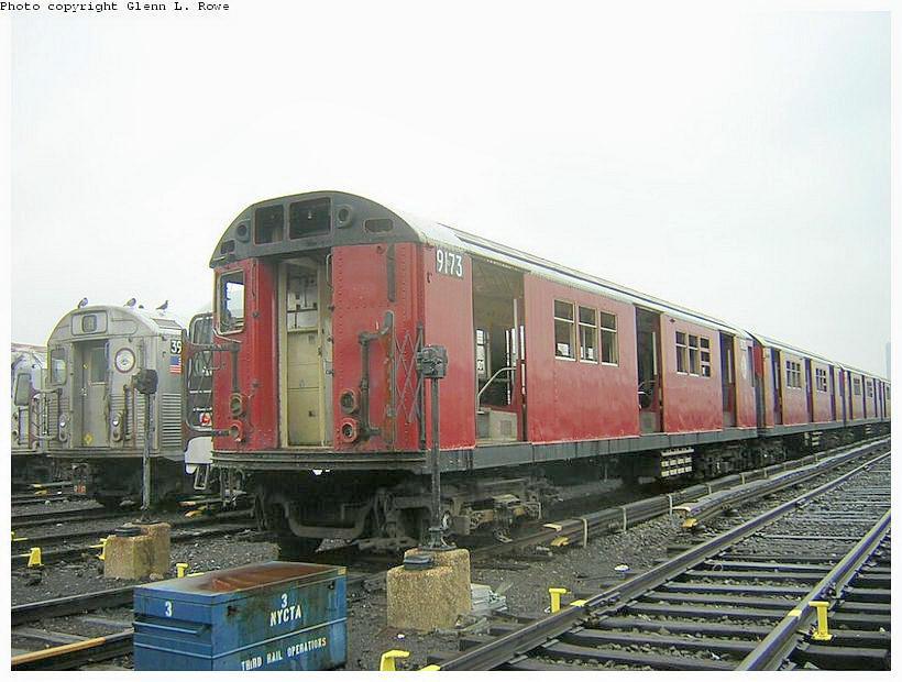 (120k, 820x620)<br><b>Country:</b> United States<br><b>City:</b> New York<br><b>System:</b> New York City Transit<br><b>Location:</b> 207th Street Yard<br><b>Car:</b> R-33 Main Line (St. Louis, 1962-63) 9173 <br><b>Photo by:</b> Glenn L. Rowe<br><b>Date:</b> 5/8/2003<br><b>Viewed (this week/total):</b> 0 / 3942