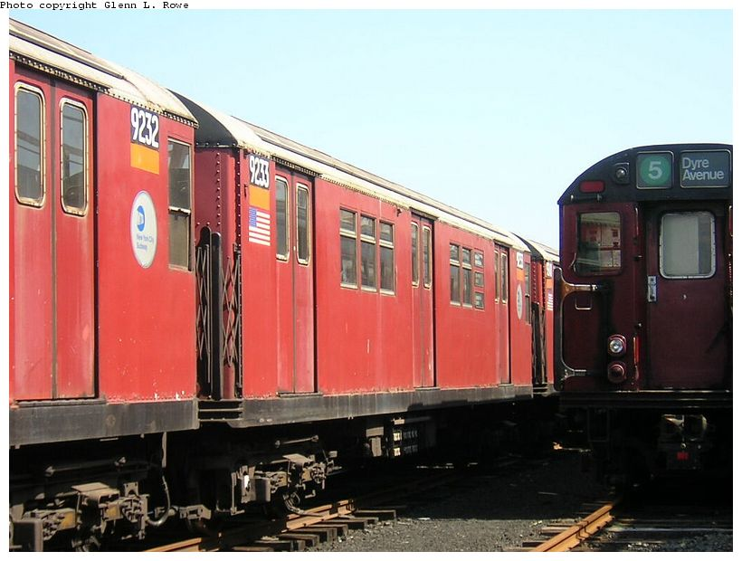 (116k, 820x620)<br><b>Country:</b> United States<br><b>City:</b> New York<br><b>System:</b> New York City Transit<br><b>Location:</b> 207th Street Yard<br><b>Car:</b> R-33 Main Line (St. Louis, 1962-63) 9233 <br><b>Photo by:</b> Glenn L. Rowe<br><b>Date:</b> 5/7/2003<br><b>Viewed (this week/total):</b> 0 / 4243