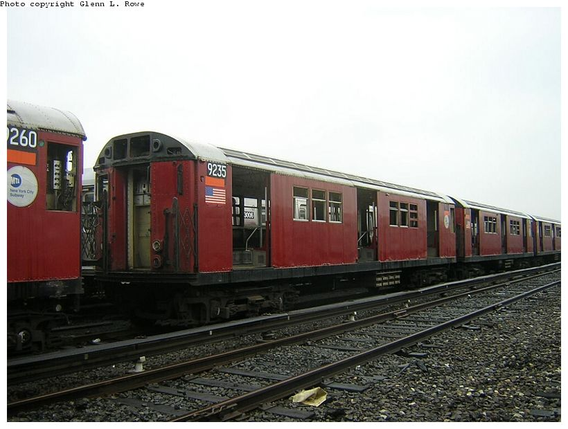 (117k, 820x620)<br><b>Country:</b> United States<br><b>City:</b> New York<br><b>System:</b> New York City Transit<br><b>Location:</b> 207th Street Yard<br><b>Car:</b> R-33 Main Line (St. Louis, 1962-63) 9235 <br><b>Photo by:</b> Glenn L. Rowe<br><b>Date:</b> 5/8/2003<br><b>Viewed (this week/total):</b> 2 / 3562