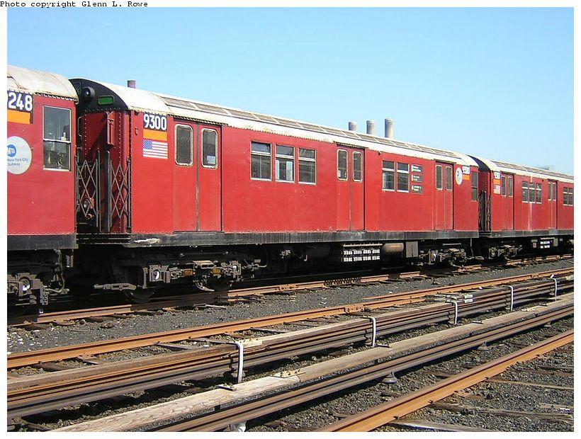 (158k, 820x620)<br><b>Country:</b> United States<br><b>City:</b> New York<br><b>System:</b> New York City Transit<br><b>Location:</b> 207th Street Yard<br><b>Car:</b> R-33 Main Line (St. Louis, 1962-63) 9300 <br><b>Photo by:</b> Glenn L. Rowe<br><b>Date:</b> 5/7/2003<br><b>Viewed (this week/total):</b> 0 / 3635