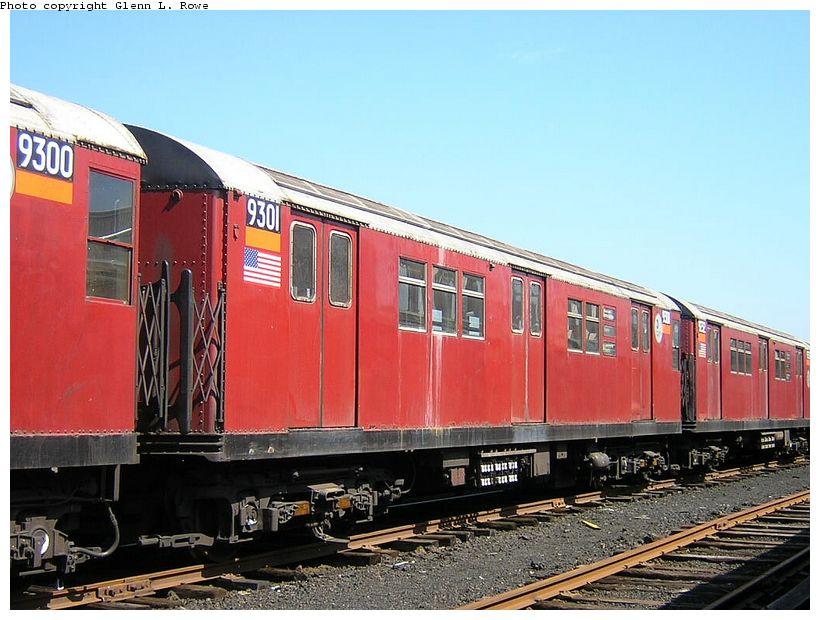 (130k, 820x620)<br><b>Country:</b> United States<br><b>City:</b> New York<br><b>System:</b> New York City Transit<br><b>Location:</b> 207th Street Yard<br><b>Car:</b> R-33 Main Line (St. Louis, 1962-63) 9301 <br><b>Photo by:</b> Glenn L. Rowe<br><b>Date:</b> 5/7/2003<br><b>Viewed (this week/total):</b> 0 / 3741