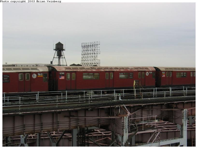 (66k, 820x620)<br><b>Country:</b> United States<br><b>City:</b> New York<br><b>System:</b> New York City Transit<br><b>Line:</b> IRT Flushing Line<br><b>Location:</b> Queensborough Plaza <br><b>Car:</b> R-33 World's Fair (St. Louis, 1963-64) 9319 <br><b>Photo by:</b> Brian Weinberg<br><b>Date:</b> 7/10/2003<br><b>Viewed (this week/total):</b> 0 / 4278