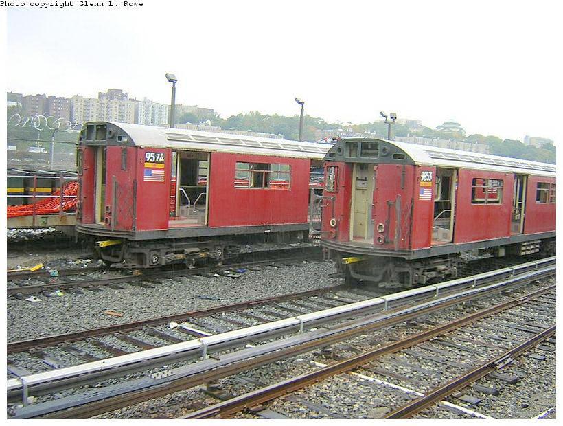 (154k, 820x620)<br><b>Country:</b> United States<br><b>City:</b> New York<br><b>System:</b> New York City Transit<br><b>Location:</b> 207th Street Yard<br><b>Car:</b> R-36 World's Fair (St. Louis, 1963-64) 9574 <br><b>Photo by:</b> Glenn L. Rowe<br><b>Date:</b> 10/27/2003<br><b>Viewed (this week/total):</b> 1 / 3553