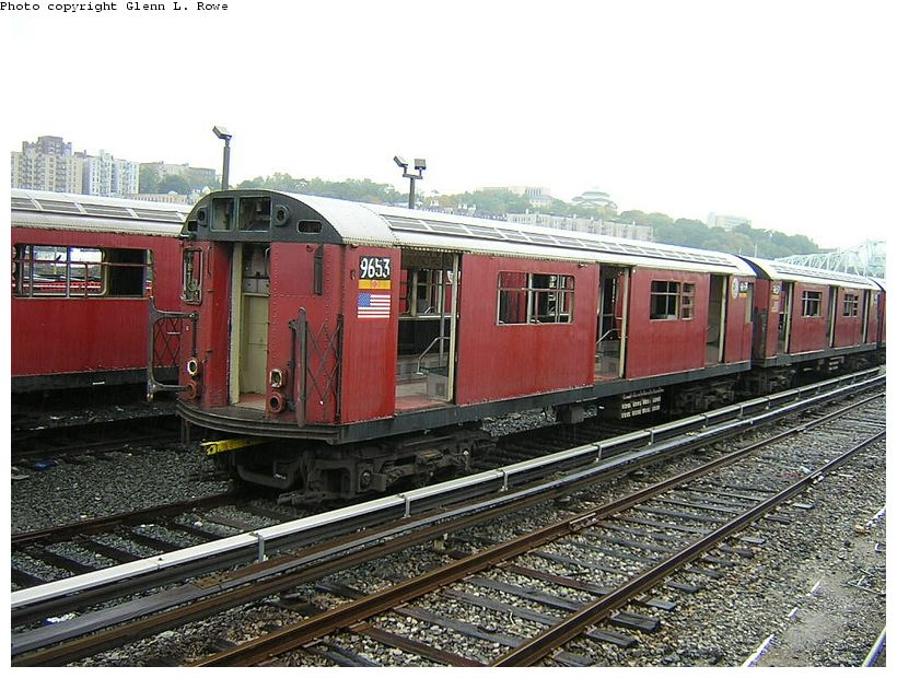 (152k, 820x620)<br><b>Country:</b> United States<br><b>City:</b> New York<br><b>System:</b> New York City Transit<br><b>Location:</b> 207th Street Yard<br><b>Car:</b> R-36 World's Fair (St. Louis, 1963-64) 9653 <br><b>Photo by:</b> Glenn L. Rowe<br><b>Date:</b> 10/27/2003<br><b>Viewed (this week/total):</b> 0 / 4117