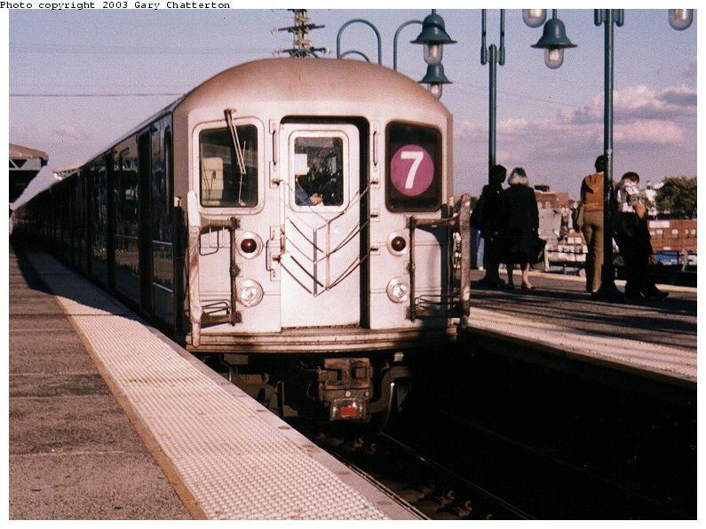 (93k, 795x596)<br><b>Country:</b> United States<br><b>City:</b> New York<br><b>System:</b> New York City Transit<br><b>Line:</b> IRT Flushing Line<br><b>Location:</b> 61st Street/Woodside <br><b>Route:</b> 7<br><b>Car:</b> R-62A (Bombardier, 1984-1987)  2003 <br><b>Photo by:</b> Gary Chatterton<br><b>Date:</b> 9/29/2003<br><b>Viewed (this week/total):</b> 1 / 3514