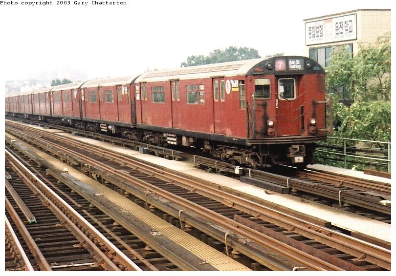 (109k, 810x566)<br><b>Country:</b> United States<br><b>City:</b> New York<br><b>System:</b> New York City Transit<br><b>Line:</b> IRT Flushing Line<br><b>Location:</b> 74th Street/Broadway <br><b>Route:</b> 7<br><b>Car:</b> R-36 World's Fair (St. Louis, 1963-64) 9669 <br><b>Photo by:</b> Gary Chatterton<br><b>Date:</b> 10/8/2003<br><b>Viewed (this week/total):</b> 2 / 2951
