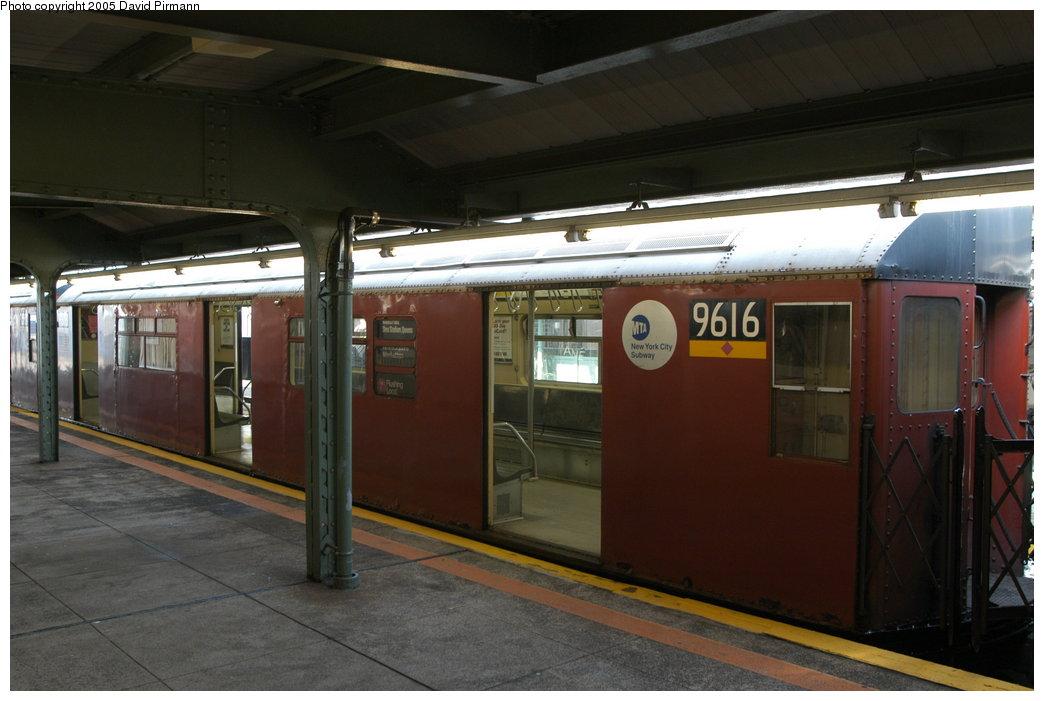 (170k, 1044x701)<br><b>Country:</b> United States<br><b>City:</b> New York<br><b>System:</b> New York City Transit<br><b>Line:</b> IRT Flushing Line<br><b>Location:</b> Willets Point/Mets (fmr. Shea Stadium) <br><b>Route:</b> 7<br><b>Car:</b> R-36 World's Fair (St. Louis, 1963-64) 9616 <br><b>Photo by:</b> David Pirmann<br><b>Date:</b> 11/3/2003<br><b>Notes:</b> Last revenue redbird train<br><b>Viewed (this week/total):</b> 0 / 3216