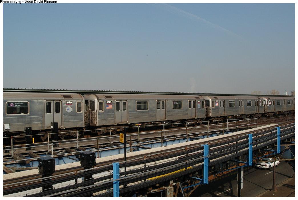 (183k, 1044x701)<br><b>Country:</b> United States<br><b>City:</b> New York<br><b>System:</b> New York City Transit<br><b>Line:</b> IRT Flushing Line<br><b>Location:</b> Willets Point/Mets (fmr. Shea Stadium) <br><b>Route:</b> 7<br><b>Car:</b> R-62A (Bombardier, 1984-1987)  1678 <br><b>Photo by:</b> David Pirmann<br><b>Date:</b> 11/3/2003<br><b>Viewed (this week/total):</b> 2 / 3434