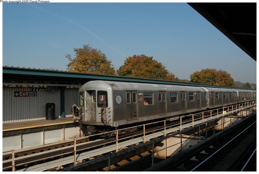 (196k, 1044x701)<br><b>Country:</b> United States<br><b>City:</b> New York<br><b>System:</b> New York City Transit<br><b>Line:</b> BMT Nassau Street/Jamaica Line<br><b>Location:</b> Cypress Hills <br><b>Route:</b> J<br><b>Car:</b> R-42 (St. Louis, 1969-1970)  4872 <br><b>Photo by:</b> David Pirmann<br><b>Date:</b> 11/3/2003<br><b>Viewed (this week/total):</b> 0 / 3172