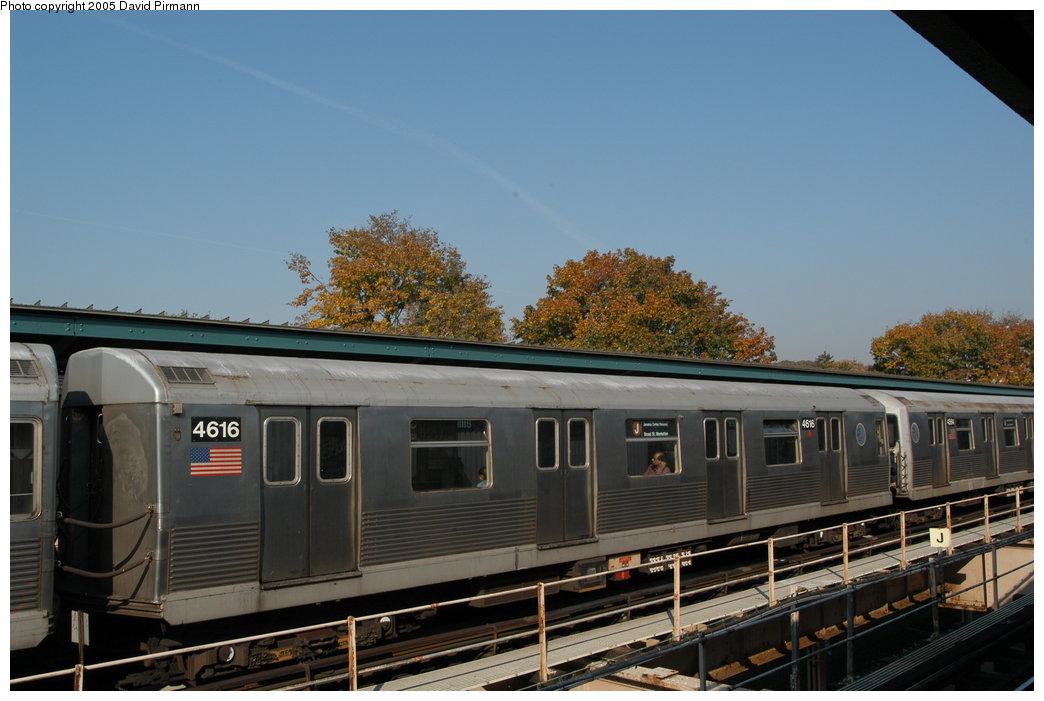 (179k, 1044x701)<br><b>Country:</b> United States<br><b>City:</b> New York<br><b>System:</b> New York City Transit<br><b>Line:</b> BMT Nassau Street/Jamaica Line<br><b>Location:</b> Cypress Hills <br><b>Route:</b> J<br><b>Car:</b> R-42 (St. Louis, 1969-1970)  4616 <br><b>Photo by:</b> David Pirmann<br><b>Date:</b> 11/3/2003<br><b>Viewed (this week/total):</b> 0 / 3222