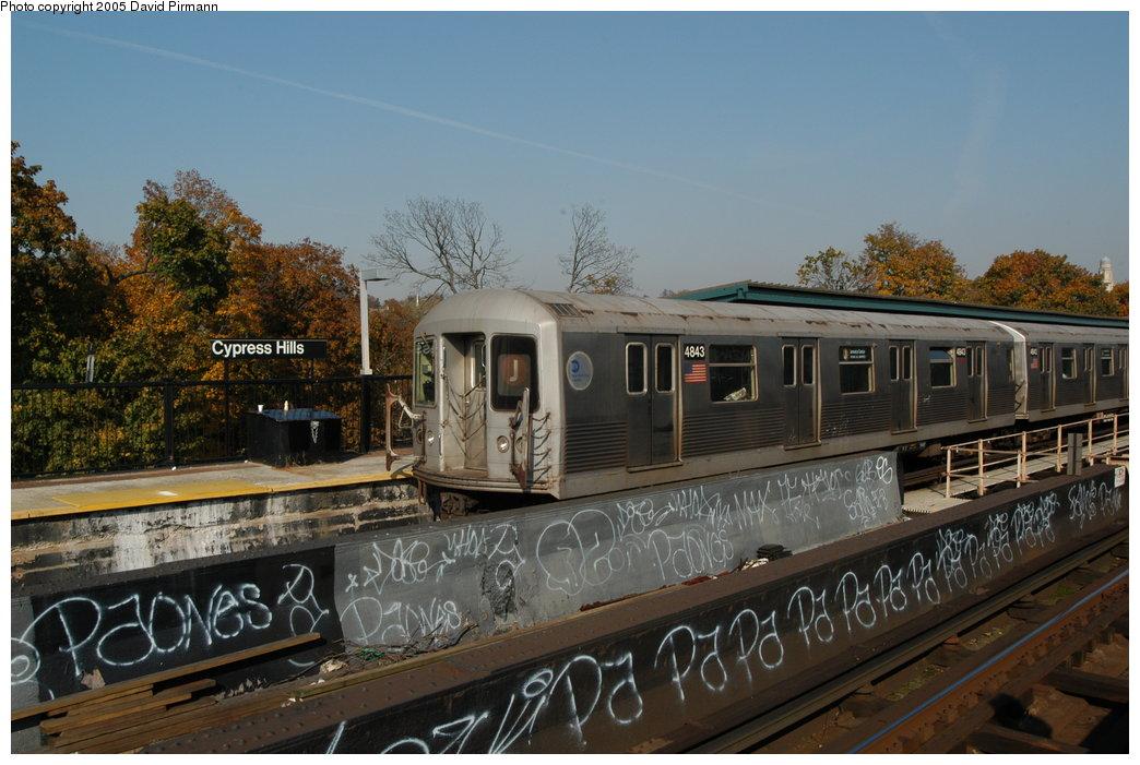 (201k, 1044x701)<br><b>Country:</b> United States<br><b>City:</b> New York<br><b>System:</b> New York City Transit<br><b>Line:</b> BMT Nassau Street/Jamaica Line<br><b>Location:</b> Cypress Hills <br><b>Route:</b> J<br><b>Car:</b> R-42 (St. Louis, 1969-1970)  4843 <br><b>Photo by:</b> David Pirmann<br><b>Date:</b> 11/3/2003<br><b>Viewed (this week/total):</b> 0 / 4304