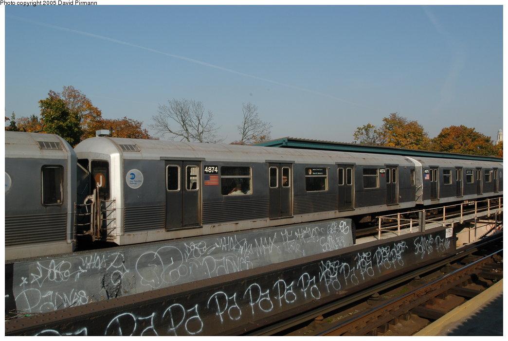 (190k, 1044x701)<br><b>Country:</b> United States<br><b>City:</b> New York<br><b>System:</b> New York City Transit<br><b>Line:</b> BMT Nassau Street/Jamaica Line<br><b>Location:</b> Cypress Hills <br><b>Route:</b> J<br><b>Car:</b> R-42 (St. Louis, 1969-1970)  4874 <br><b>Photo by:</b> David Pirmann<br><b>Date:</b> 11/3/2003<br><b>Viewed (this week/total):</b> 1 / 3440