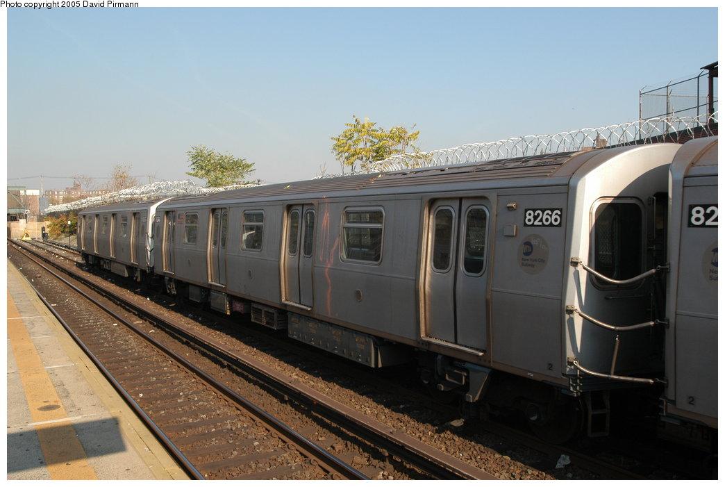 (184k, 1044x701)<br><b>Country:</b> United States<br><b>City:</b> New York<br><b>System:</b> New York City Transit<br><b>Line:</b> BMT Canarsie Line<br><b>Location:</b> East 105th Street <br><b>Route:</b> L<br><b>Car:</b> R-143 (Kawasaki, 2001-2002) 8266 <br><b>Photo by:</b> David Pirmann<br><b>Date:</b> 11/3/2003<br><b>Viewed (this week/total):</b> 0 / 4938