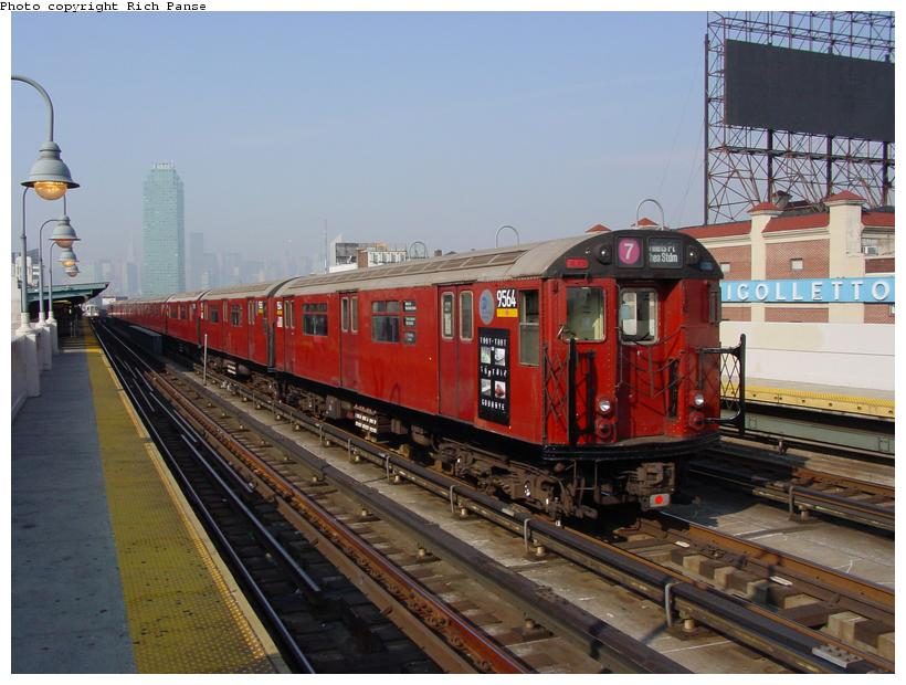 (83k, 820x620)<br><b>Country:</b> United States<br><b>City:</b> New York<br><b>System:</b> New York City Transit<br><b>Line:</b> IRT Flushing Line<br><b>Location:</b> 33rd Street/Rawson Street <br><b>Car:</b> R-36 World's Fair (St. Louis, 1963-64) 9564 <br><b>Photo by:</b> Richard Panse<br><b>Date:</b> 11/3/2003<br><b>Notes:</b> Train used on last revenue Redbird service deadheads inbound prior to last passenger run.<br><b>Viewed (this week/total):</b> 2 / 5763