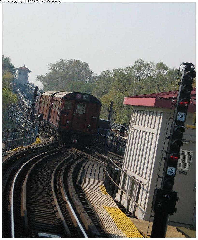 (138k, 820x991)<br><b>Country:</b> United States<br><b>City:</b> New York<br><b>System:</b> New York City Transit<br><b>Line:</b> IRT Flushing Line<br><b>Location:</b> Willets Point/Mets (fmr. Shea Stadium) <br><b>Car:</b> R-36 World's Fair (St. Louis, 1963-64) 9564 <br><b>Photo by:</b> Brian Weinberg<br><b>Date:</b> 11/3/2003<br><b>Notes:</b> Train used on last revenue Redbird service enters Corona Yard lead after the ceremony.<br><b>Viewed (this week/total):</b> 4 / 6182