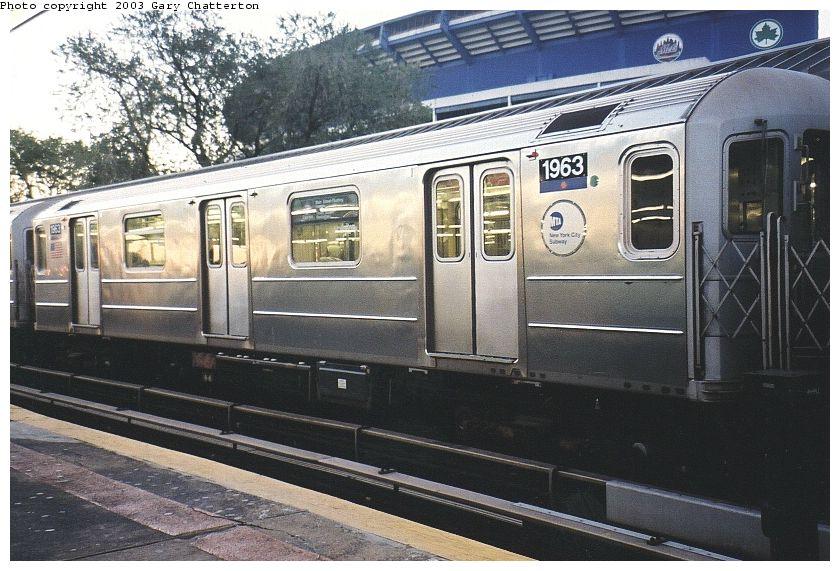 (108k, 840x571)<br><b>Country:</b> United States<br><b>City:</b> New York<br><b>System:</b> New York City Transit<br><b>Line:</b> IRT Flushing Line<br><b>Location:</b> Willets Point/Mets (fmr. Shea Stadium) <br><b>Route:</b> 7<br><b>Car:</b> R-62A (Bombardier, 1984-1987)  1963 <br><b>Photo by:</b> Gary Chatterton<br><b>Date:</b> 10/24/2003<br><b>Viewed (this week/total):</b> 8 / 2912