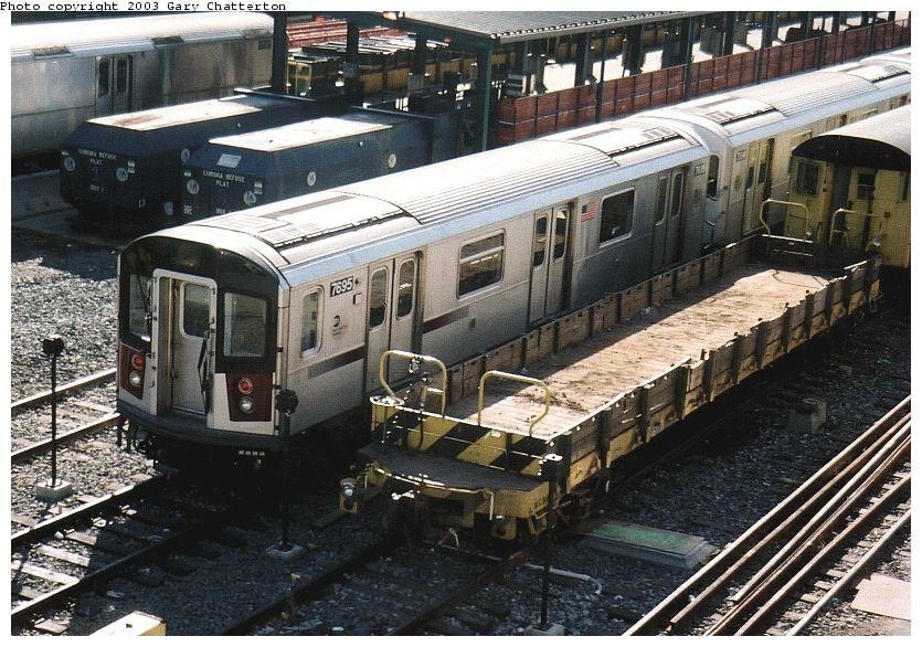 (125k, 835x586)<br><b>Country:</b> United States<br><b>City:</b> New York<br><b>System:</b> New York City Transit<br><b>Location:</b> Corona Yard<br><b>Car:</b> R-142A (Option Order, Kawasaki, 2002-2003)  7695 <br><b>Photo by:</b> Gary Chatterton<br><b>Date:</b> 10/20/2003<br><b>Viewed (this week/total):</b> 0 / 5687