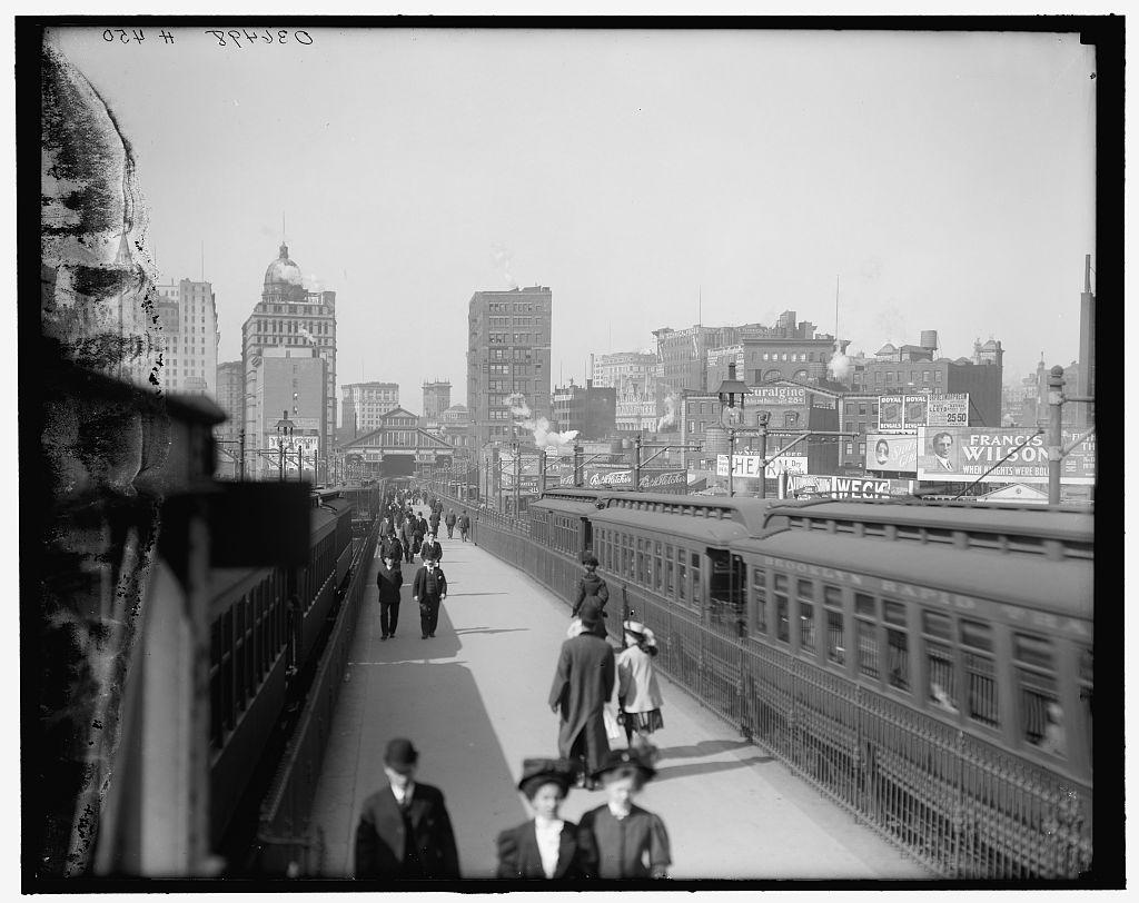 (112k, 1024x812)<br><b>Country:</b> United States<br><b>City:</b> New York<br><b>System:</b> New York City Transit<br><b>Line:</b> BMT Fulton<br><b>Location:</b> Brooklyn Bridge <br><b>Photo by:</b> Detroit Publishing Co.<br><b>Collection of:</b> Library of Congress, Prints and Photographs Division<br><b>Viewed (this week/total):</b> 0 / 1205