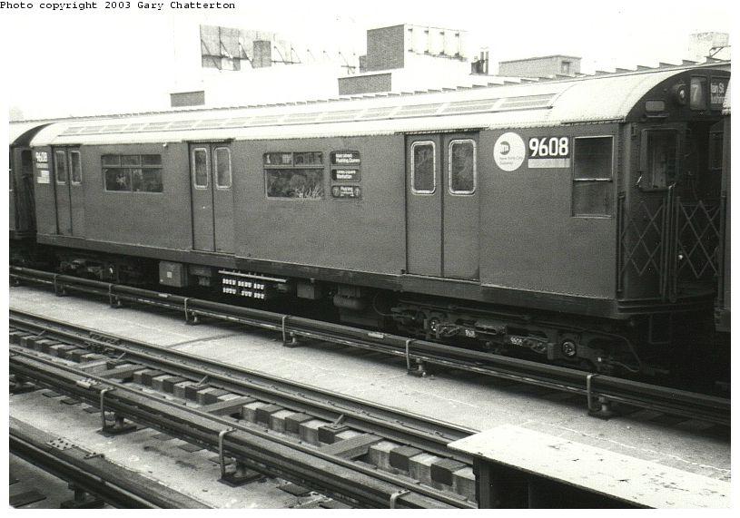 (85k, 815x571)<br><b>Country:</b> United States<br><b>City:</b> New York<br><b>System:</b> New York City Transit<br><b>Line:</b> IRT Flushing Line<br><b>Location:</b> 33rd Street/Rawson Street <br><b>Route:</b> 7<br><b>Car:</b> R-36 World's Fair (St. Louis, 1963-64) 9608 <br><b>Photo by:</b> Gary Chatterton<br><b>Date:</b> 10/17/2003<br><b>Viewed (this week/total):</b> 8 / 2607