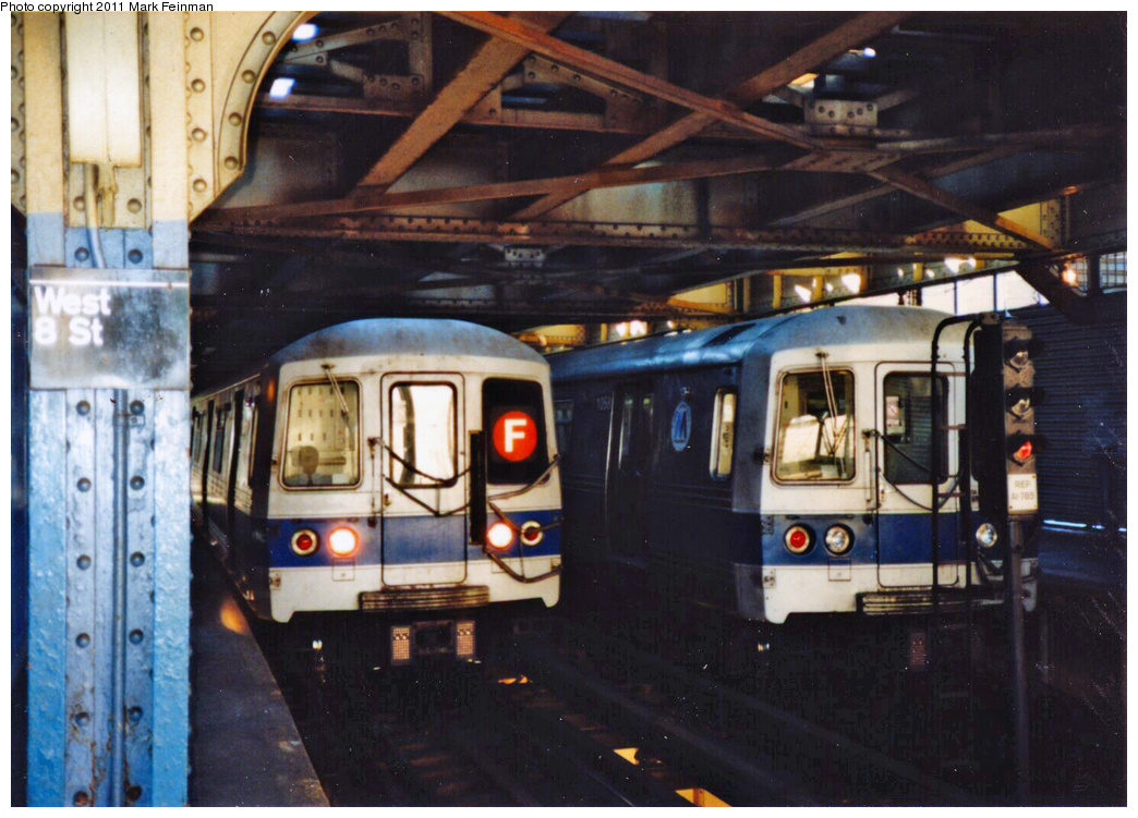 (359k, 1044x751)<br><b>Country:</b> United States<br><b>City:</b> New York<br><b>System:</b> New York City Transit<br><b>Line:</b> BMT Culver Line<br><b>Location:</b> West 8th Street <br><b>Route:</b> F<br><b>Car:</b> R-46 (Pullman-Standard, 1974-75)  <br><b>Photo by:</b> Mark S. Feinman<br><b>Date:</b> 11/22/1989<br><b>Viewed (this week/total):</b> 5 / 1920