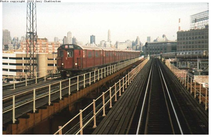 (95k, 900x586)<br><b>Country:</b> United States<br><b>City:</b> New York<br><b>System:</b> New York City Transit<br><b>Line:</b> IRT Flushing Line<br><b>Location:</b> Queensborough Plaza <br><b>Route:</b> 7<br><b>Car:</b> R-36 World's Fair (St. Louis, 1963-64) 9755 <br><b>Photo by:</b> Gary Chatterton<br><b>Date:</b> 8/2002<br><b>Viewed (this week/total):</b> 1 / 4450
