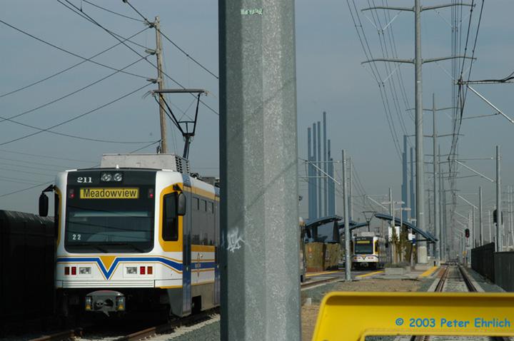 (121k, 720x478)<br><b>Country:</b> United States<br><b>City:</b> Sacramento, CA<br><b>System:</b> SACRT Light Rail<br><b>Location:</b> Meadowview <br><b>Car:</b> Sacramento CAF LRV  211 <br><b>Photo by:</b> Peter Ehrlich<br><b>Date:</b> 10/18/2003<br><b>Viewed (this week/total):</b> 0 / 1499