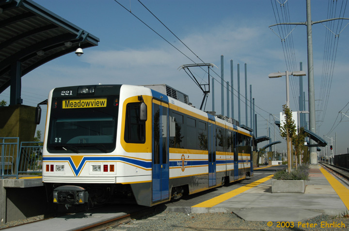 (136k, 720x478)<br><b>Country:</b> United States<br><b>City:</b> Sacramento, CA<br><b>System:</b> SACRT Light Rail<br><b>Location:</b> Meadowview <br><b>Car:</b> Sacramento CAF LRV  221 <br><b>Photo by:</b> Peter Ehrlich<br><b>Date:</b> 10/18/2003<br><b>Viewed (this week/total):</b> 0 / 1526