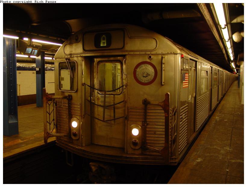 (70k, 820x620)<br><b>Country:</b> United States<br><b>City:</b> New York<br><b>System:</b> New York City Transit<br><b>Line:</b> IND 8th Avenue Line<br><b>Location:</b> 59th Street/Columbus Circle <br><b>Route:</b> A<br><b>Car:</b> R-38 (St. Louis, 1966-1967)  4144 <br><b>Photo by:</b> Richard Panse<br><b>Date:</b> 11/9/2003<br><b>Viewed (this week/total):</b> 1 / 5044