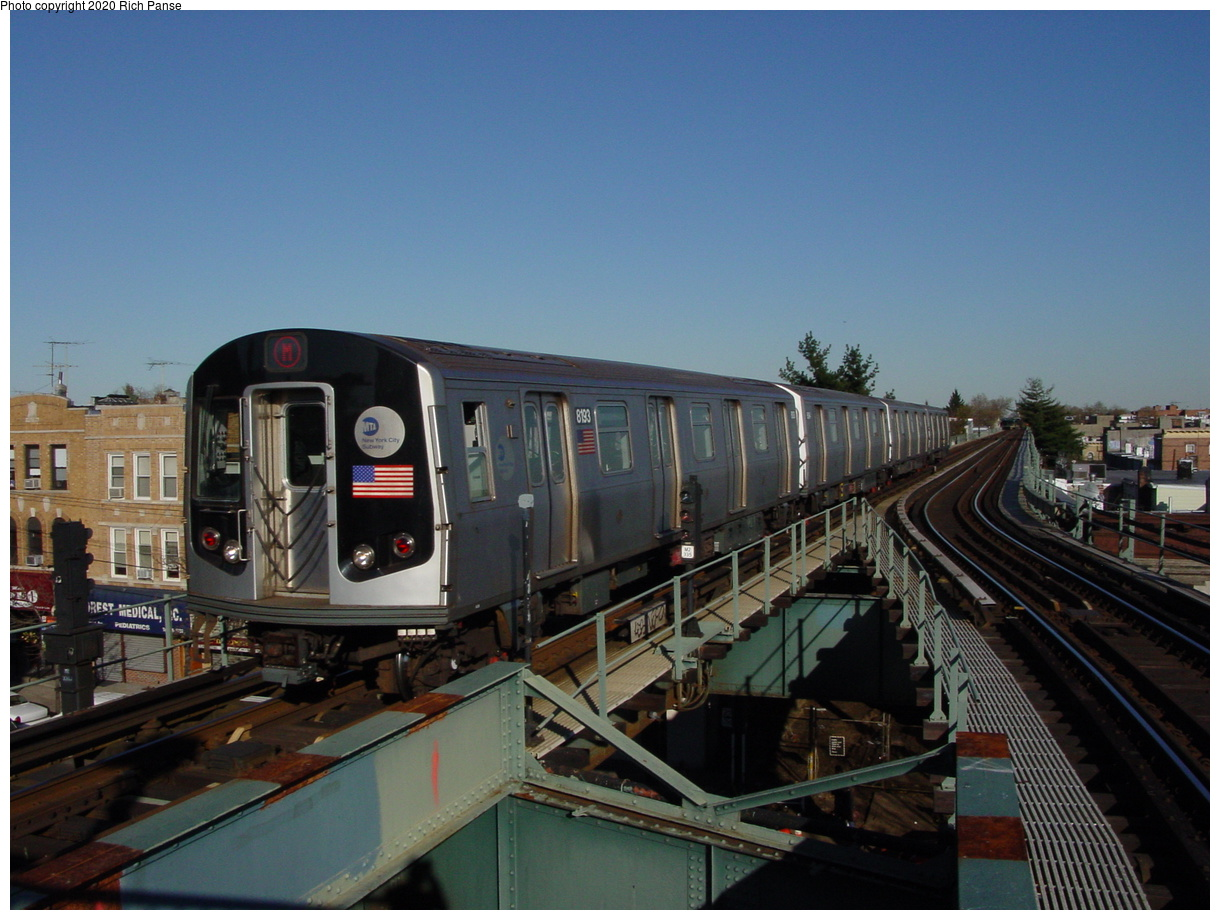 (69k, 820x620)<br><b>Country:</b> United States<br><b>City:</b> New York<br><b>System:</b> New York City Transit<br><b>Line:</b> BMT Myrtle Avenue Line<br><b>Location:</b> Forest Avenue <br><b>Route:</b> M<br><b>Car:</b> R-143 (Kawasaki, 2001-2002) 8193 <br><b>Photo by:</b> Richard Panse<br><b>Date:</b> 11/9/2003<br><b>Viewed (this week/total):</b> 2 / 5922