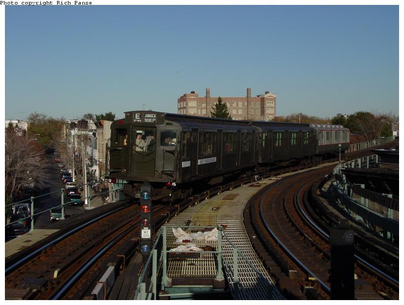 (75k, 820x620)<br><b>Country:</b> United States<br><b>City:</b> New York<br><b>System:</b> New York City Transit<br><b>Line:</b> BMT Myrtle Avenue Line<br><b>Location:</b> Seneca Avenue <br><b>Route:</b> Fan Trip<br><b>Car:</b> R-1 (American Car & Foundry, 1930-1931) 100 <br><b>Photo by:</b> Richard Panse<br><b>Date:</b> 11/9/2003<br><b>Viewed (this week/total):</b> 0 / 4272