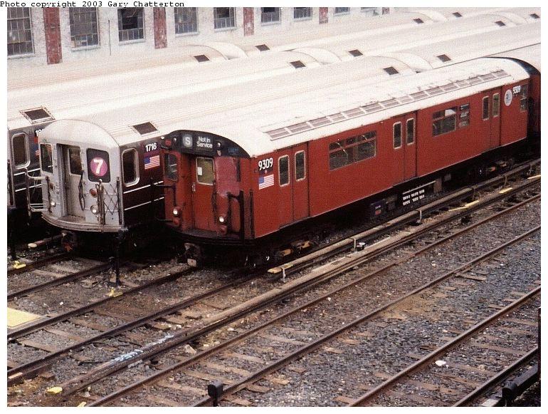 (120k, 770x581)<br><b>Country:</b> United States<br><b>City:</b> New York<br><b>System:</b> New York City Transit<br><b>Location:</b> Corona Yard<br><b>Car:</b> R-33 World's Fair (St. Louis, 1963-64) 9309 <br><b>Photo by:</b> Gary Chatterton<br><b>Date:</b> 11/4/2003<br><b>Viewed (this week/total):</b> 0 / 3871