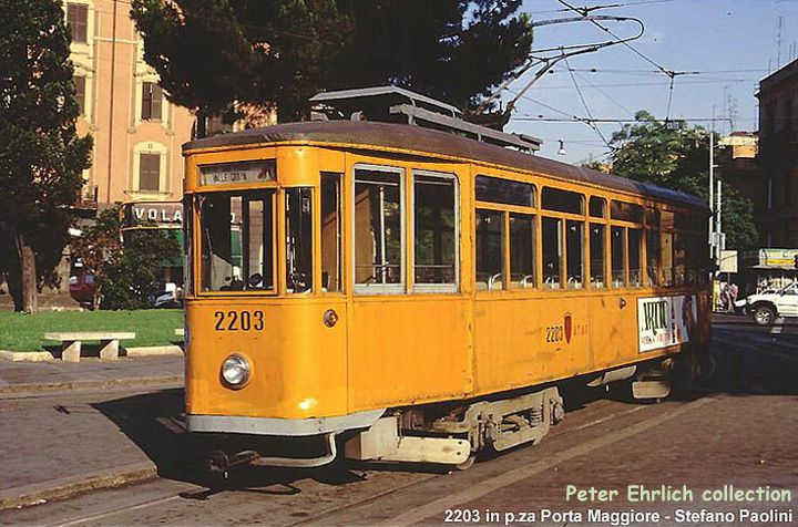 (93k, 720x476)<br><b>Country:</b> Italy<br><b>City:</b> Rome<br><b>System:</b> ATAC <br><b>Location:</b> Piazza di Porta Maggiore<br><b>Car:</b> Rome MRS Tram 2203 <br><b>Photo by:</b> Stefano Paolini<br><b>Collection of:</b> Peter Ehrlich<br><b>Notes:</b> An unrebuilt MRS tram in orange.<br><b>Viewed (this week/total):</b> 3 / 1477