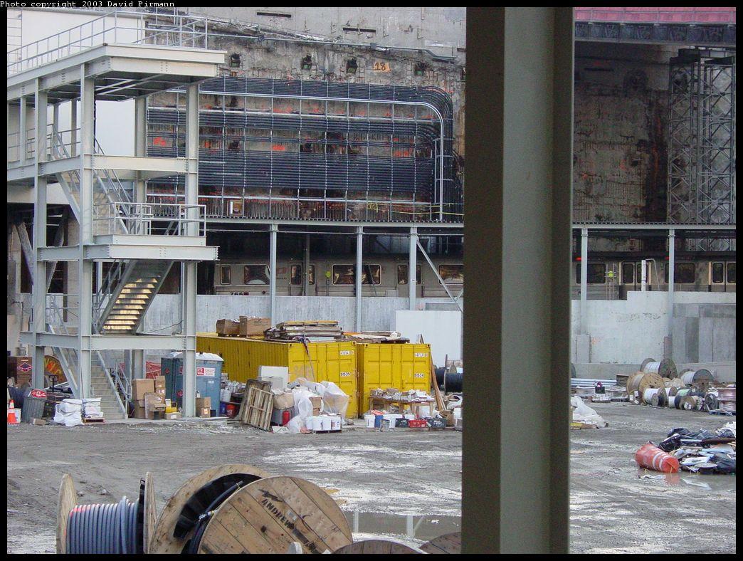 (189k, 1044x788)<br><b>Country:</b> United States<br><b>City:</b> New York<br><b>System:</b> PATH<br><b>Location:</b> World Trade Center <br><b>Photo by:</b> David Pirmann<br><b>Date:</b> 11/23/2003<br><b>Notes:</b> View across bathtub of train entering WTC<br><b>Viewed (this week/total):</b> 3 / 7645
