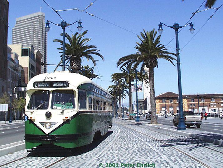 (106k, 715x540)<br><b>Country:</b> United States<br><b>City:</b> San Francisco/Bay Area, CA<br><b>System:</b> SF MUNI<br><b>Location:</b> Embarcadero/Howard <br><b>Route:</b> F-Market<br><b>Car:</b> SF MUNI PCC (Ex-SEPTA) (St. Louis Car Co., 1947-1948)  1062 <br><b>Photo by:</b> Peter Ehrlich<br><b>Date:</b> 4/25/2001<br><b>Viewed (this week/total):</b> 1 / 2833