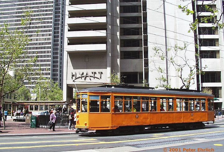 (120k, 720x488)<br><b>Country:</b> United States<br><b>City:</b> San Francisco/Bay Area, CA<br><b>System:</b> SF MUNI<br><b>Location:</b> Market/Drumm/California <br><b>Route:</b> F-Market<br><b>Car:</b> Milan Milano/Peter Witt (1927-1930)  1795 <br><b>Photo by:</b> Peter Ehrlich<br><b>Date:</b> 4/17/2001<br><b>Viewed (this week/total):</b> 0 / 1668