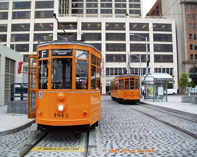 (113k, 675x540)<br><b>Country:</b> United States<br><b>City:</b> San Francisco/Bay Area, CA<br><b>System:</b> SF MUNI<br><b>Location:</b> Don Chee Way/Justin Herman Plaza<br><b>Route:</b> F-Market<br><b>Car:</b> Milan Milano/Peter Witt (1927-1930) 1815 <br><b>Photo by:</b> Peter Ehrlich<br><b>Date:</b> 7/12/2001<br><b>Notes:</b> 1815 inbound, 1818 outbound<br><b>Viewed (this week/total):</b> 0 / 963