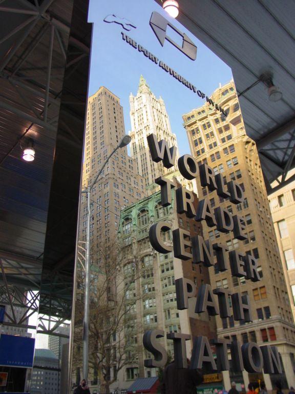 (83k, 576x768)<br><b>Country:</b> United States<br><b>City:</b> New York<br><b>System:</b> PATH<br><b>Location:</b> World Trade Center <br><b>Photo by:</b> Richard Panse<br><b>Date:</b> 11/23/2003<br><b>Notes:</b> Sign outside the street-level entrance<br><b>Viewed (this week/total):</b> 0 / 6849