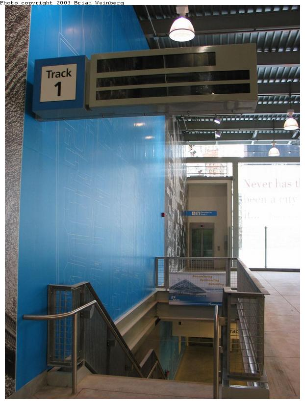 (75k, 622x823)<br><b>Country:</b> United States<br><b>City:</b> New York<br><b>System:</b> PATH<br><b>Location:</b> World Trade Center <br><b>Photo by:</b> Brian Weinberg<br><b>Date:</b> 11/23/2003<br><b>Notes:</b> View of stairway down to track 1<br><b>Viewed (this week/total):</b> 4 / 4945