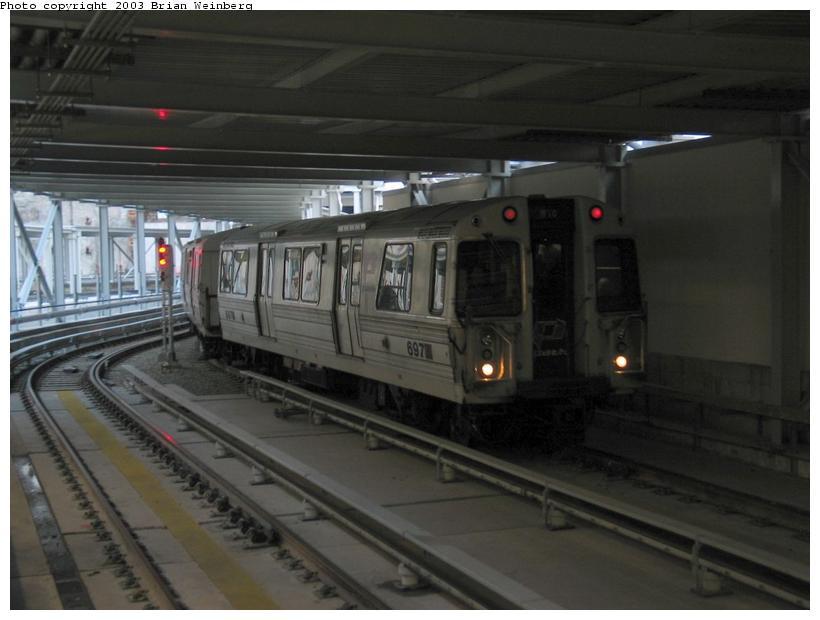 (62k, 820x620)<br><b>Country:</b> United States<br><b>City:</b> New York<br><b>System:</b> PATH<br><b>Location:</b> World Trade Center <br><b>Car:</b> PATH PA-1 (St. Louis Car, 1965)  697 <br><b>Photo by:</b> Brian Weinberg<br><b>Date:</b> 11/23/2003<br><b>Viewed (this week/total):</b> 3 / 9793