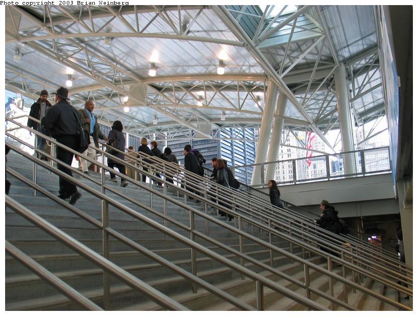 (108k, 820x620)<br><b>Country:</b> United States<br><b>City:</b> New York<br><b>System:</b> PATH<br><b>Location:</b> World Trade Center <br><b>Photo by:</b> Brian Weinberg<br><b>Date:</b> 11/24/2003<br><b>Notes:</b> Stairs from upper mezzanine to street<br><b>Viewed (this week/total):</b> 0 / 9957
