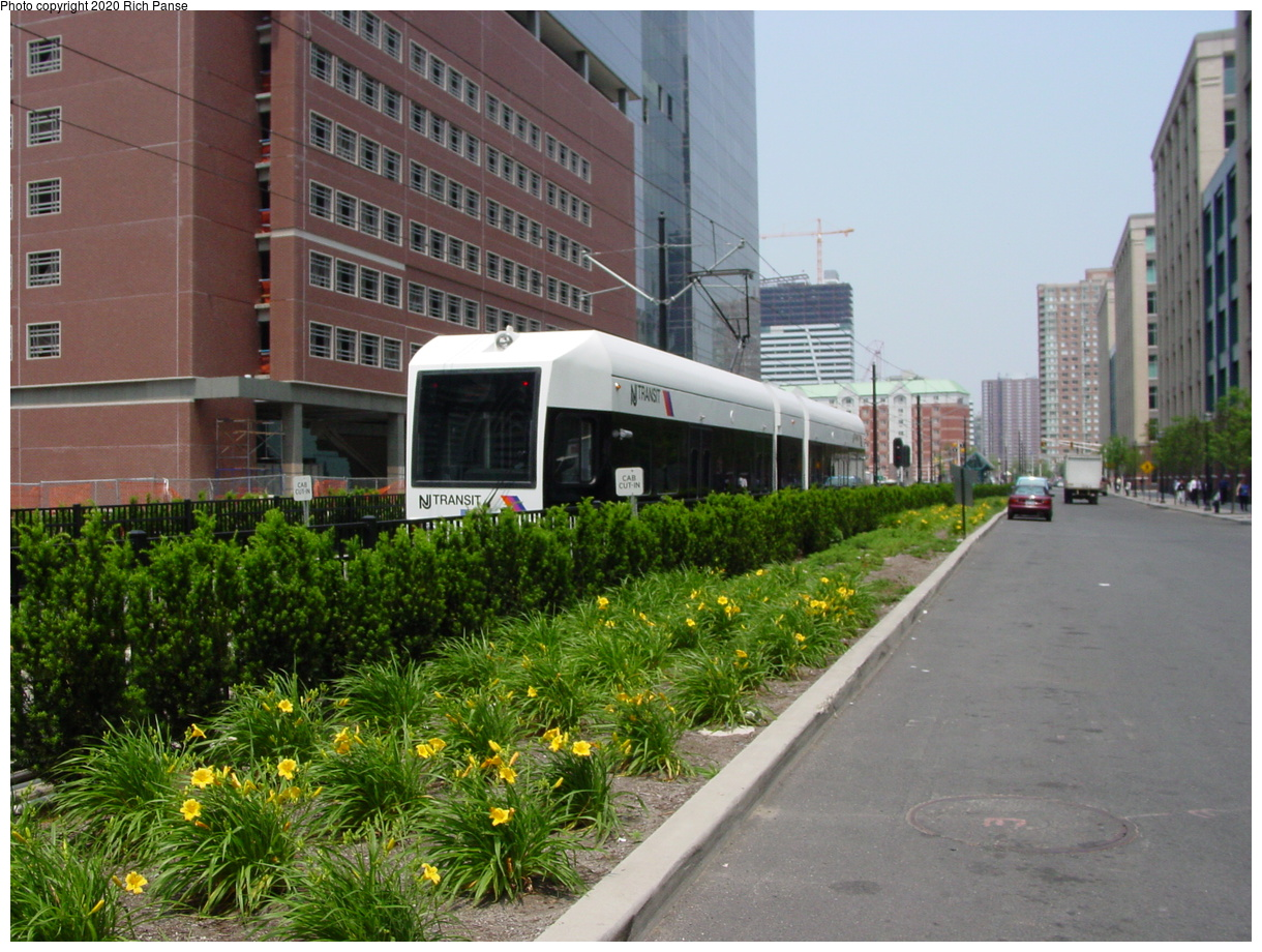 (92k, 820x620)<br><b>Country:</b> United States<br><b>City:</b> Jersey City, NJ<br><b>System:</b> Hudson Bergen Light Rail<br><b>Location:</b> Harborside <br><b>Car:</b> NJT-HBLR LRV (Kinki-Sharyo, 1998-99)   <br><b>Photo by:</b> Richard Panse<br><b>Date:</b> 6/5/2002<br><b>Viewed (this week/total):</b> 0 / 3150