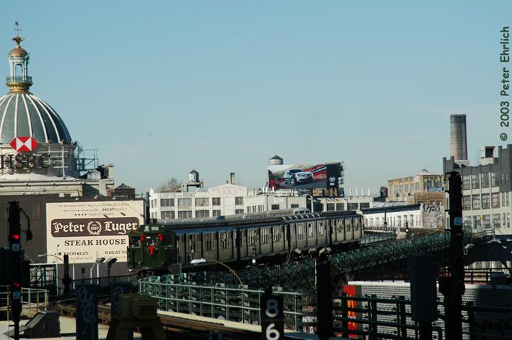 (129k, 720x478)<br><b>Country:</b> United States<br><b>City:</b> New York<br><b>System:</b> New York City Transit<br><b>Line:</b> BMT Nassau Street/Jamaica Line<br><b>Location:</b> Marcy Avenue <br><b>Route:</b> Fan Trip<br><b>Car:</b> R-1 (American Car & Foundry, 1930-1931) 100 <br><b>Photo by:</b> Peter Ehrlich<br><b>Date:</b> 12/28/2003<br><b>Viewed (this week/total):</b> 0 / 4248