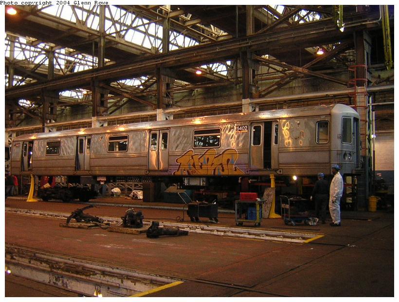 (133k, 820x620)<br><b>Country:</b> United States<br><b>City:</b> New York<br><b>System:</b> New York City Transit<br><b>Location:</b> 207th Street Shop<br><b>Car:</b> R-44 (St. Louis, 1971-73) 5402 <br><b>Photo by:</b> Glenn L. Rowe<br><b>Date:</b> 1/19/2004<br><b>Viewed (this week/total):</b> 3 / 5239