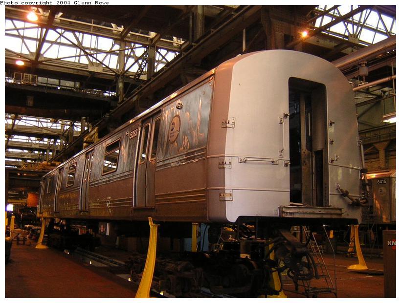 (122k, 820x620)<br><b>Country:</b> United States<br><b>City:</b> New York<br><b>System:</b> New York City Transit<br><b>Location:</b> 207th Street Shop<br><b>Car:</b> R-44 (St. Louis, 1971-73) 5283 <br><b>Photo by:</b> Glenn L. Rowe<br><b>Date:</b> 1/19/2004<br><b>Viewed (this week/total):</b> 0 / 3735