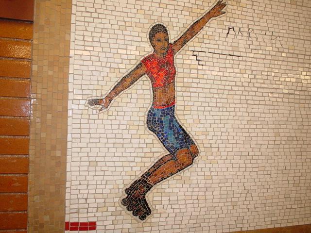 (154k, 640x480)<br><b>Country:</b> United States<br><b>City:</b> New York<br><b>System:</b> New York City Transit<br><b>Line:</b> IRT West Side Line<br><b>Location:</b> 66th Street/Lincoln Center<br><b>Photo by:</b> Kris Naudus<br><b>Date:</b> 1/25/2004<br><b>Artwork:</b> <i>Artemis, Acrobats, Divas and Dancers</i>, Nancy Spero, 2004<br><b>Notes:</b> Art installation, northbound platform.<br><b>Viewed (this week/total):</b> 4 / 4014